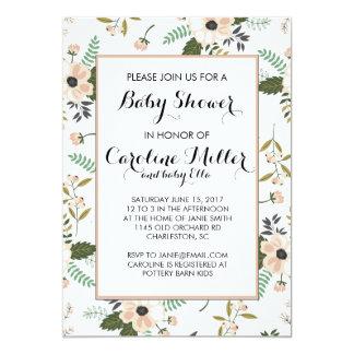 Peach Floral Baby Shower Invitation