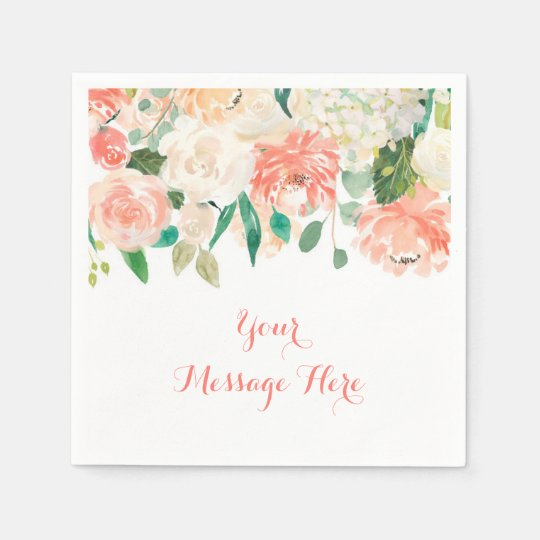 Peach Floral Baby Shower Paper Napkins