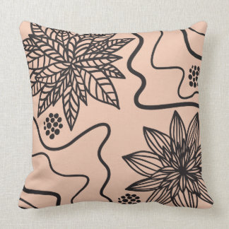 PEACH FLORAL BLACK DESIGN Retro Throw Pillow