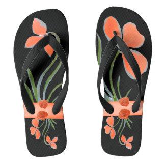 Peach Floral Black Flip Flops by DelynnAddams