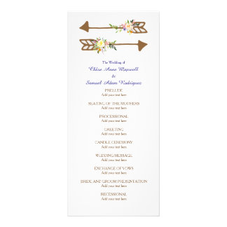 Peach Floral Bouquet Wedding Program Rack Card Design