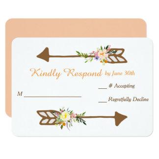 Peach Floral Bouquet Wedding RSVP Card