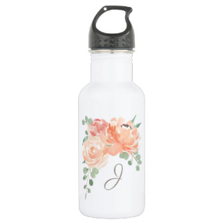 Peach Floral Bouquet with any Monogram 532 Ml Water Bottle