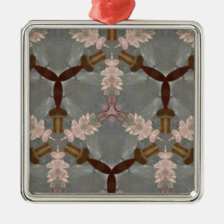 Peach Floral Brown Bamboo Abstract Asian Pattern Silver-Colored Square Ornament