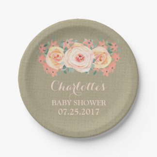 Peach Floral Burlap Baby Shower Plate 7 Inch Paper Plate