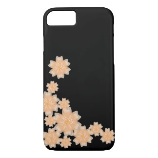 Peach Floral Design (Black) - iPhone 7 Case / Skin
