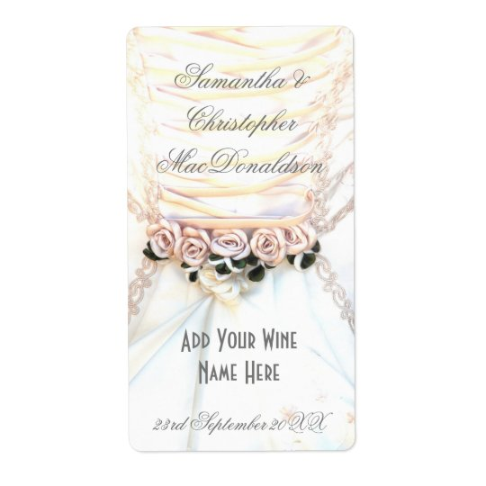 Peach floral flowers wedding dress wine bottle