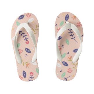 Peach Floral Kids Flip Flops