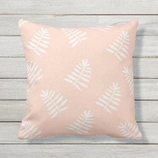Peach Floral Outdoor Throw Pillow