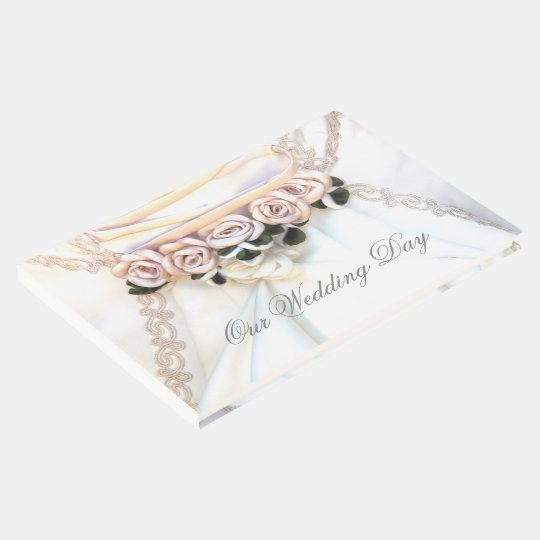 Peach floral rose wedding day guest book