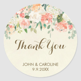 peach floral thank you favours sticker elegant