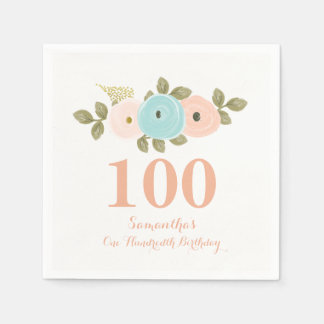 Peach Floral Watercolor 100th Birthday Party Disposable Napkins