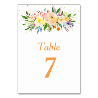 Peach Floral Watercolor Bouquet Table Table Card