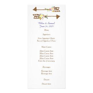 Peach Floral Wedding Menu Customized Rack Card
