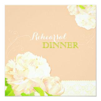 Peach Floral Wedding Rehearsal Dinner Card