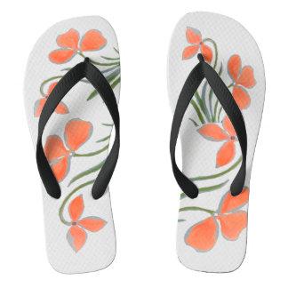 Peach Floral White Flip Flops by DelynnAddams