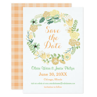 "Peach Floral Wreath - 3x5 Save the Date 3.5"" X 5"" Invitation Card"
