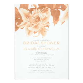 Peach Flower Bridal Shower Invitations