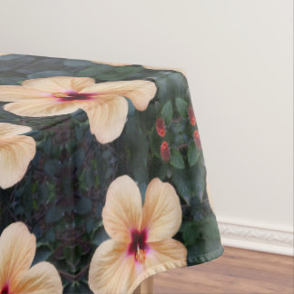 peach flower tablecloth