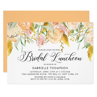 Peach Flowers Gold Leaves Bridal Luncheon Card