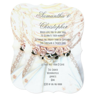 Peach flowers on brides dress wedding card