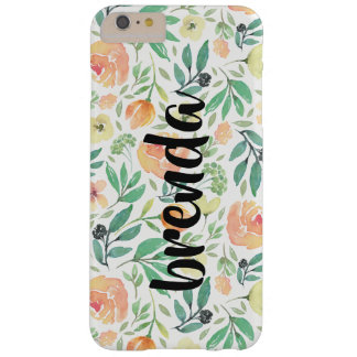 Peach Flowers Pattern & Script Typography Monogram Barely There iPhone 6 Plus Case