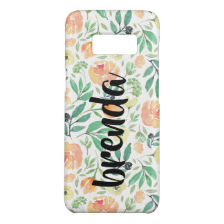 Peach Flowers Pattern & Script Typography Monogram Case-Mate Samsung Galaxy S8 Case