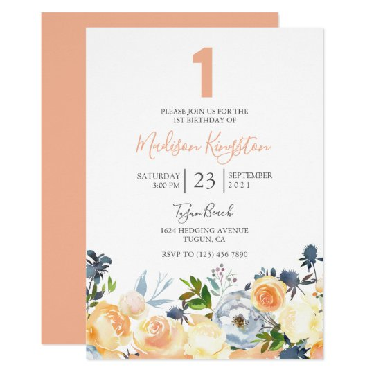 Peach Flowers Pretty 1st Birthday Party Invite