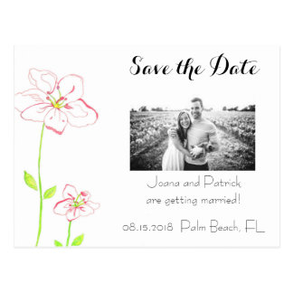 Peach Flowers Save the Date Postcard