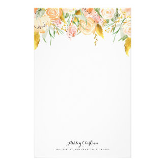 Peach Flowers with Gold Foil Foliage Stationery