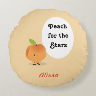 Peach for the Stars   Round Pillow