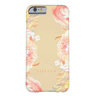 Peach Garden, Floral Monogram Barely There iPhone 6 Case