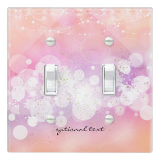 Peach Glow Sparkle Lights Glamour Chic Decor Light Switch Cover