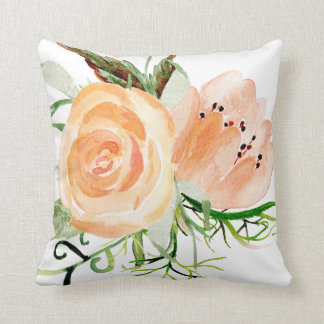 Peach gold and blush watercolor peony roses throw pillow