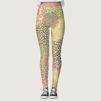Peach Gold Dahlia Leggings