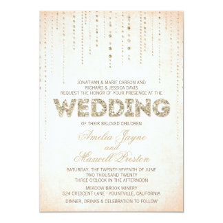 Peach & Gold Glitter Look Wedding Card