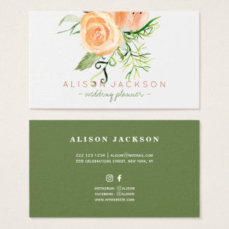 Peach gold green peony bouquet wedding planner business card