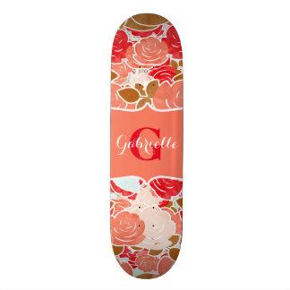 Peach & Gold Watercolor Roses Floral Monogram Skate Boards