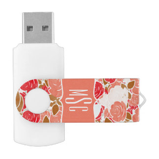 Peach & Gold Watercolor Roses Floral Monogram Swivel USB 2.0 Flash Drive
