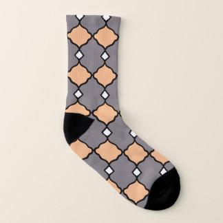 Peach-Gray-Geo-Diamonds-Unisex Socks