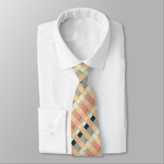 Peach, gray striped men's silk tie