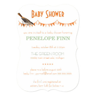 Peach Green Bunting Bird Baby Shower Card