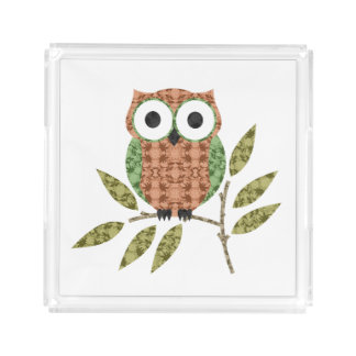 Peach Green Cute Hoot Owl Bathroom Vanity Tray