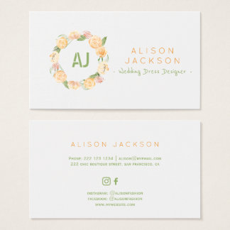 Peach green floral wreath wedding dress designer business card