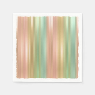Peach Green Gold Colored Stripes Disposable Napkins
