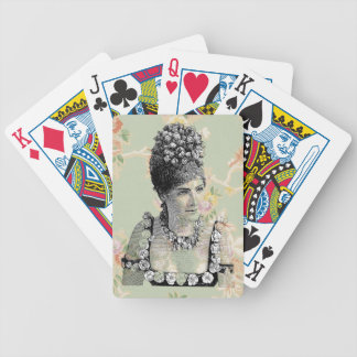 Peach Green Steampunk Floral Woman Victorian Poker Deck