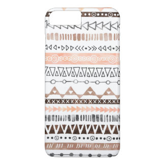 Peach Grey Brown Watercolor Tribal Pattern iPhone 7 Plus Case