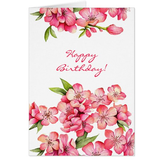 Peach Happy Birthday card