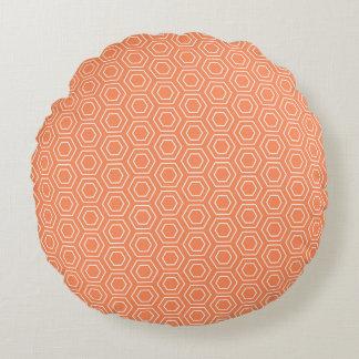 Peach Hexagon Geometric Round Pillow
