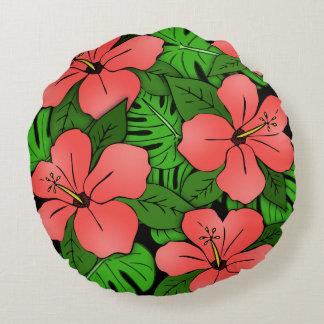 Peach Hibiscus & Monstera Round Pillow
